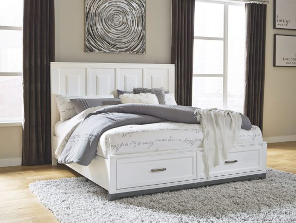 Brynburg – White – Queen Panel Bed with 2 Storage Drawers