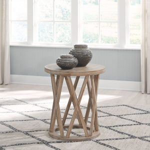 Glasslore - Light Grayish Brown - Round End Table