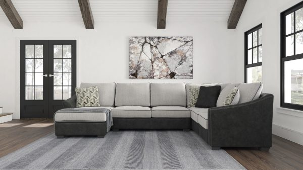 Bilgray - Pewter - Left Arm Facing Corner Chaise, Armless Loveseat, Right Arm Facing Sofa with Corner Wedge Sectional 1