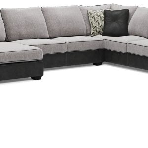 Bilgray - Pewter - Left Arm Facing Corner Chaise, Armless Loveseat, Right Arm Facing Sofa with Corner Wedge Sectional