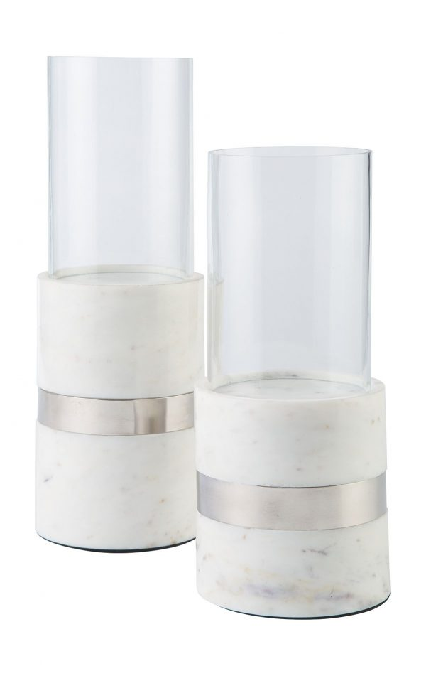 Gracelyn - White/Silver Finish - Candle Holder Set (2/CN) 1