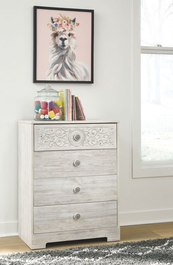 Paxberry - White Aged Pine - Four Drawer Chest