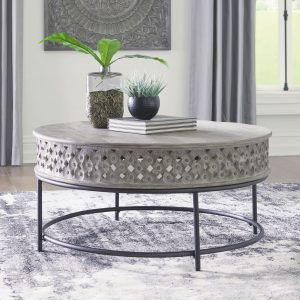 Rastella - Gray/Black - Round Cocktail Table