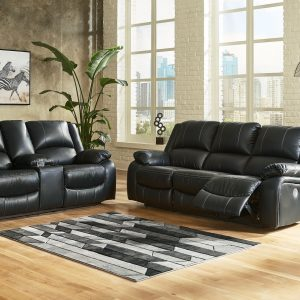 Calderwell - Black - 2 Pc. - Reclining Power Sofa, Double Reclining Power Loveseat with Console