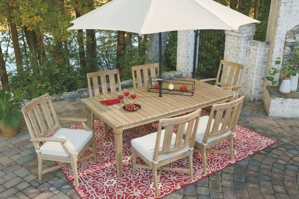 Clare View - Beige - RECT Dining Table w/UMB OPT - 8