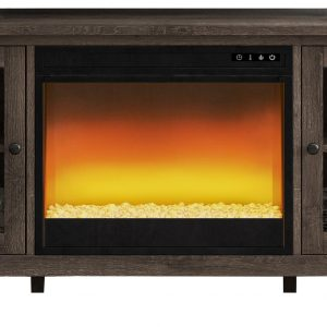 Arlenbry - Gray - LG TV Stand with Glass/Stone Fireplace Insert - 1