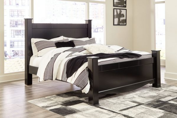 Mirlotown - Almost Black - King Poster Bed