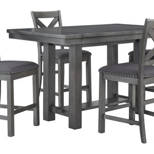 Myshanna - Gray - 5 Pc. - Rectangular Dining Room Counter Extension Table, 4 Upholstered Barstools - 1