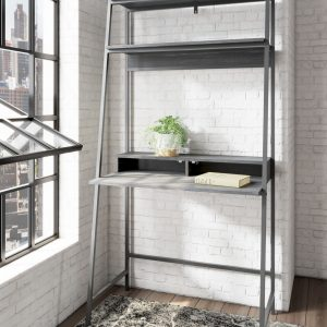 Yarlow - Black - Home Office Desk and Shelf