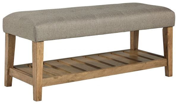 Cabellero - Light Beige/Brown - Upholstered Accent Bench