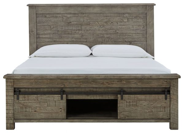 Brennagan - Gray - Queen Panel Bed with Footboard Storage - 3