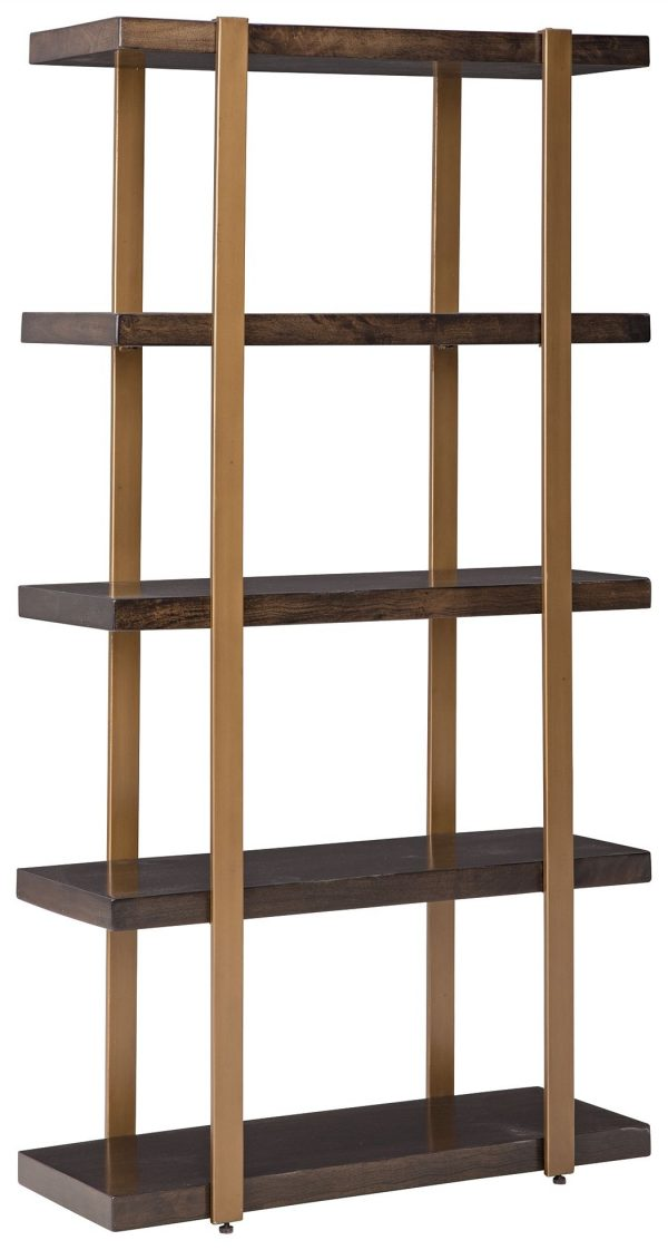 Beckville - Gold Finish/Brown - Bookcase