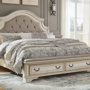 Realyn - Chipped White - Queen Upholstered Bed