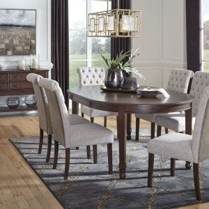 Adinton - Reddish Brown - 8 Pc. - Oval Dining Room Extension Table, 6 Upholstered Side Chairs, Server
