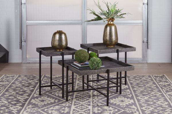 Piperlyn - Dark Brown/Black - Occasional Table Set - 3