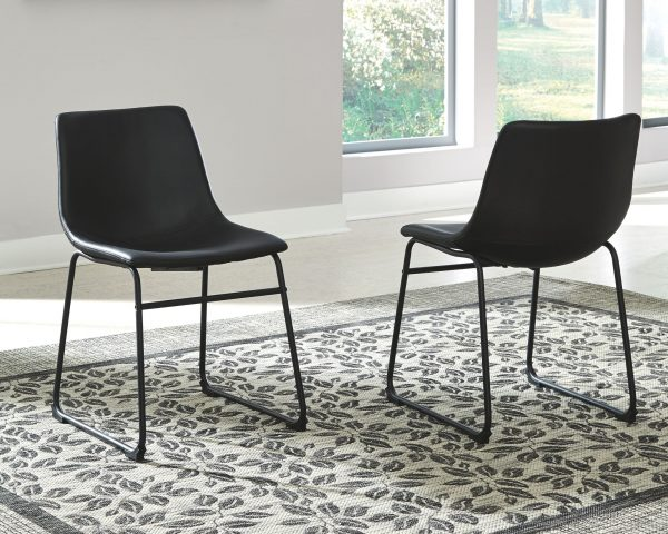 Centiar - Gray/Black - 5 Pc. - Round Dining Room Table, 4 Upholstered Side Chairs - 3