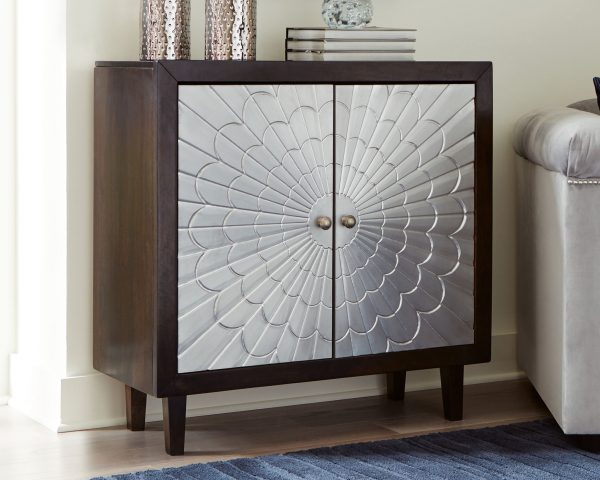 Ronlen - BrownSilver Finish - Accent Cabinet